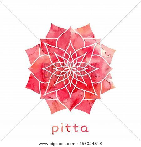 Pitta dosha abstract symbol with watercolor texture in vector. Ayurvedic body type