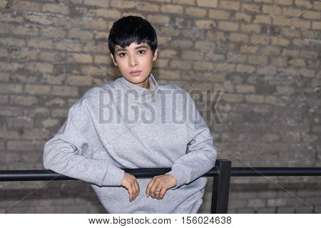 Beautiful young woman with short hair