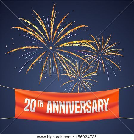 20 years anniversary vector illustration banner flyer logo icon symbol invitation. Graphic design element with fireworks for 20th anniversary birthday greeting event celebration