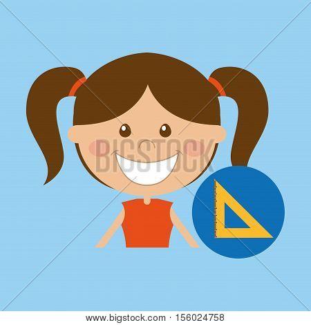 happy girl student school squad icon vector illustration eps 10