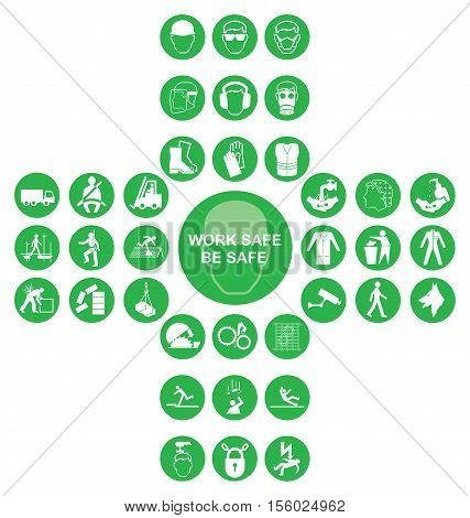Green construction manufacturing and engineering health and safety related cruciform icon collection isolated on white background with work safe be safe message
