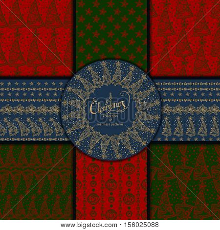 Set of seamless Christmas patterns. Set of winter holiday backgrounds. Vector illustration.