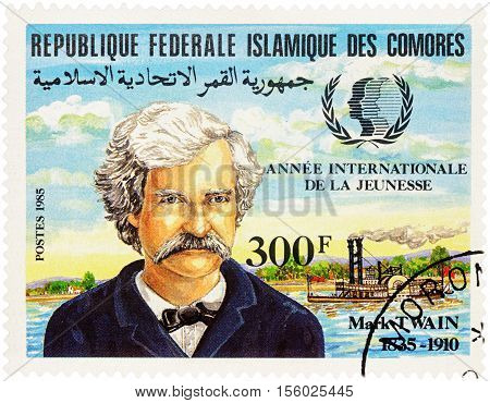 MOSCOW RUSSIA - NOVEMBER 09 2016: A stamp printed in Comoros shows portrait of Mark Twain (1835-1910) devoted to the 150th Anniversary of the Birth series