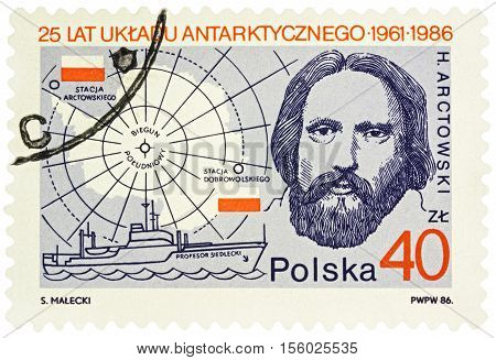 MOSCOW RUSSIA - NOVEMBER 11 2016: A stamp printed in Poland shows portrait of Polish explorer Henryk Arctowski series