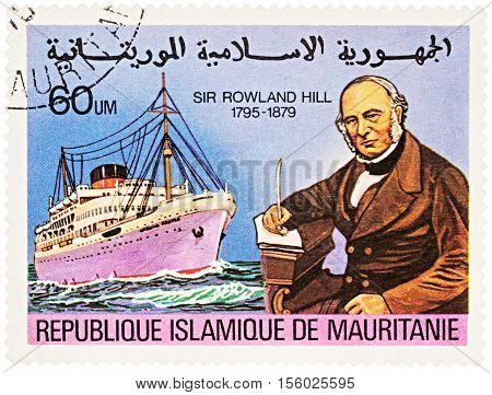MOSCOW RUSSIA - NOVEMBER 08 2016: A stamp printed in Mauritania shows passenger ship series