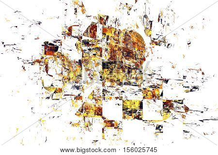 Yellow, Black And Orange Debris On White Background. Abstract Grunge Fractal Texture. 3D Render.