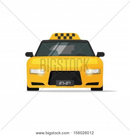 Taxi car vector icon isolated on white background, flat cartoon style taxi cab front view illustration, auto with taxi sign on roof