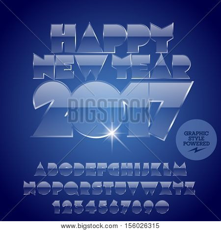 Vector ice Happy New Year 2017 greeting card with set of letters, symbols and numbers. File contains graphic styles