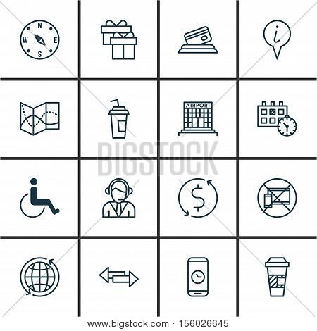 Set Of Airport Icons On Info Pointer, World And Call Duration Topics. Editable Vector Illustration.