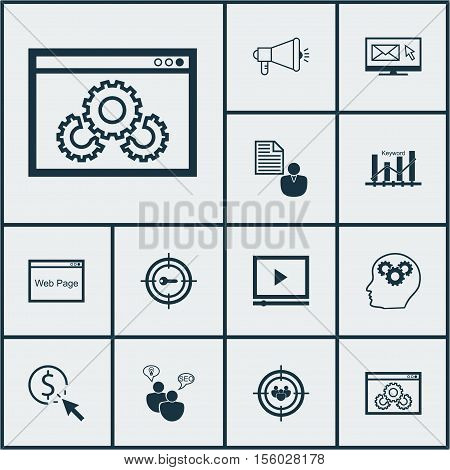 Set Of Seo Icons On Website, Brain Process And Seo Brainstorm Topics. Editable Vector Illustration.