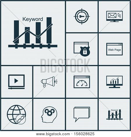 Set Of Seo Icons On Loading Speed, Conference And Newsletter Topics. Editable Vector Illustration. I