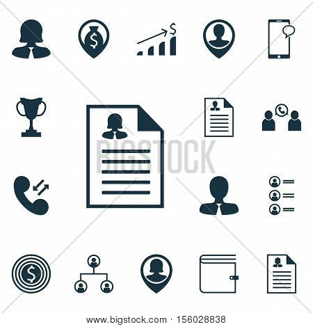 Set Of Management Icons On Cellular Data, Job Applicants And Messaging Topics. Editable Vector Illus
