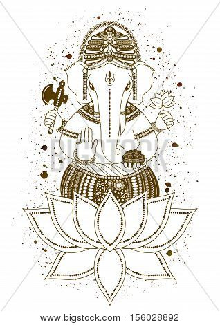 Ganesha or Ganapati Indian deity in the Hindu mehndi in lotus flower. Paint splash. illustration for design of prints web Chaturthi invitations.