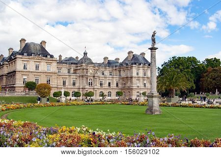 PARIS FRANCE -april 25, 2016 - Luxembourg Palace situated in Luxemburg Gardens (Jardin du Luxembourg)