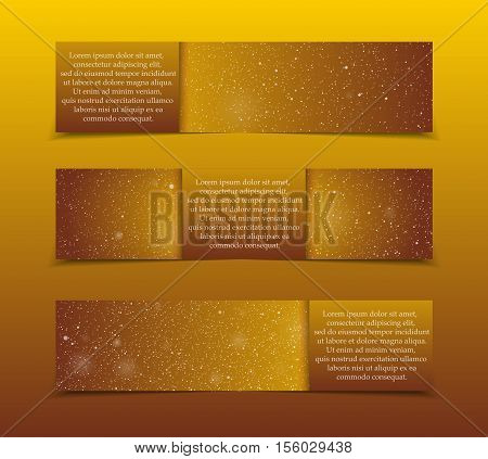 Set of Horizontal Paper Gold Golden Rectangle Banners Template. Vector Illustration. Snow, Blizzard. Winter Holiday New Year and Christmas. Winter Sale and Discount. Mock up, Card.