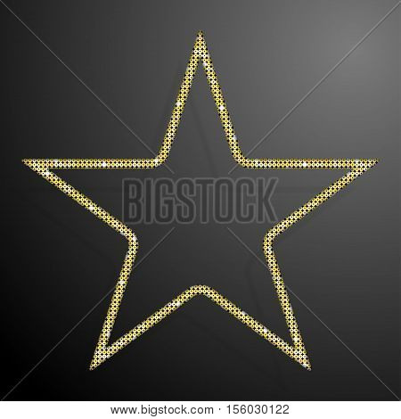 Frame made of Gold sequins in the form star. Mosaic sequins glitter sparkle stars.