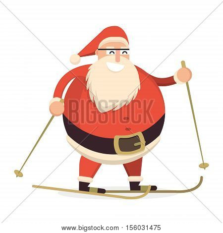 Santa Claus Skiing With Sticks. Cute Cartoon Cheerful And Smiling Father Frost Character Running. Fl