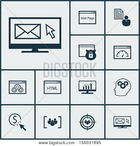 Set Of Advertising Icons On Newsletter, Market Research And Brain Process Topics. Editable Vector Il