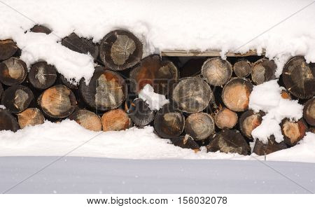 The Logs Woodpile In The Snow In Winter. Rural Winter Scene. Hdr - High Dynamic Range.