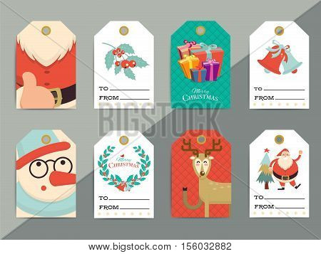 Christmas Gift Tags Template Set. Vector Printable Xmas Box Or Letter Tag Labels Design. Santa, Rein
