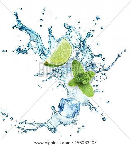 Ice cubes, mint leaves, water splash and lime isolated on a white background. Mojito