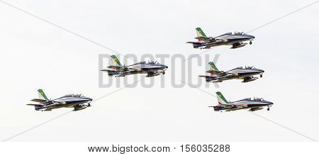 Leeuwarden, The Netherlands-june 10, 2016: Italian Aerobatic Team Frecce Tricolori (tricolor Arrows)