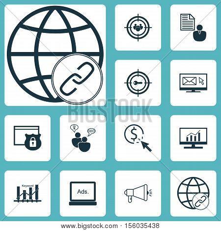 Set Of Advertising Icons On Digital Media, Report And Media Campaign Topics. Editable Vector Illustr