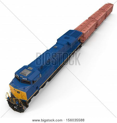 Railroad Locomotive with Hopper Cars on white background. 3D illustration