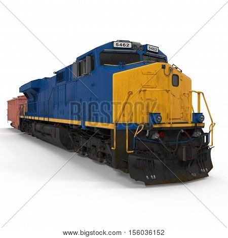 Freight train with hopper car on white background. 3D illustration