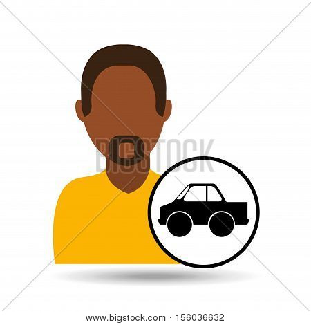 man icon pick up truck design vector illustration eps 10