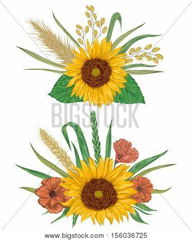 Collection decorative floral design elements. Sunflower, barley, wheat, rye, rice, poppy. Isolated elements. Bouquets with cereals and flowers. Vintage vector illustration in watercolor style.