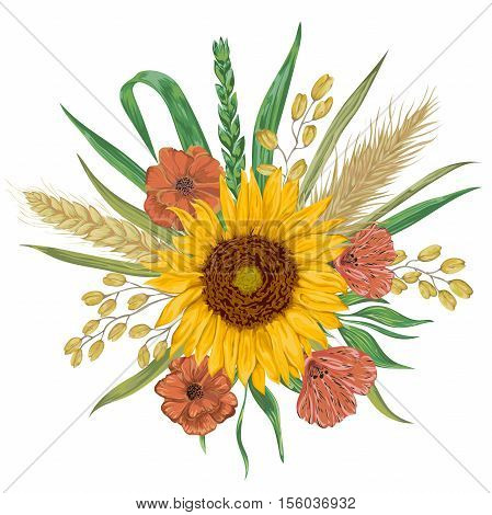 Sunflower, barley, wheat, rye, rice, poppy. Collection decorative floral design elements. Isolated elements. Bouquet with cereals and flowers. Vintage vector illustration in watercolor style.