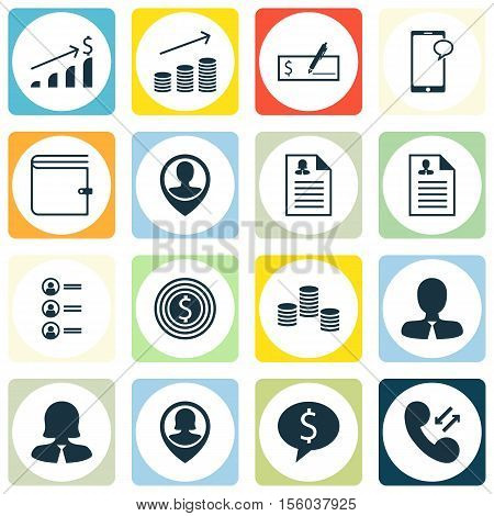 Set Of Human Resources Icons On Manager, Cellular Data And Successful Investment Topics. Editable Ve