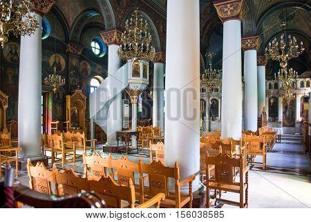 Kos, Greece - May 14, 2010 : The Agia Paraskevis church inside