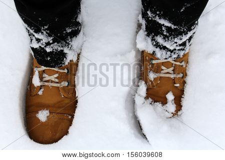 Legs in brown boots in the snow. Winter
