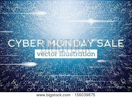 Cyber Monday Technological Background with Letters and Neon Lights. Sale Concept. Vector Illustration.