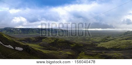 Landscape of Lakagigar volcanic valley central Iceland