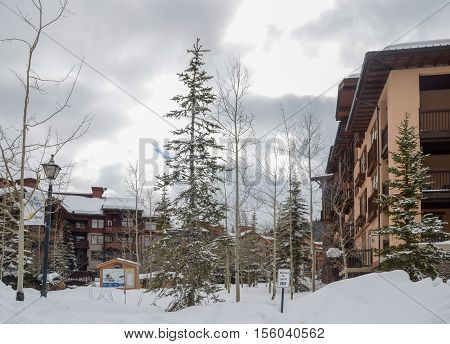 Guest Houses At Ski Resort In Utah. Usa