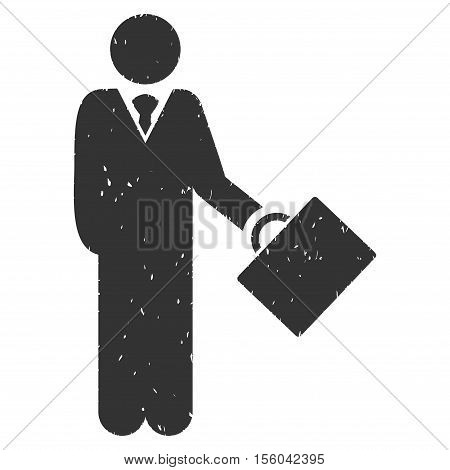 Businessman rubber seal stamp watermark. Icon vector symbol with grunge design and unclean texture. Scratched gray ink emblem on a white background.