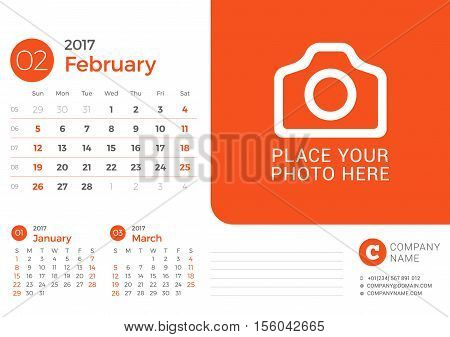 Calendar For 2017 Year. Vector Design Print Template With Place For Photo And Company Logo. February