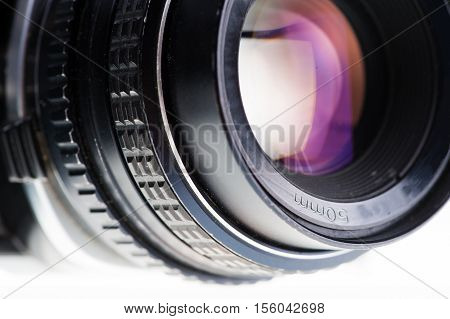 The Side View Of An Old Analog Lens