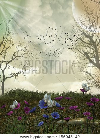fantasy forest with birds and flowers 3D rendering