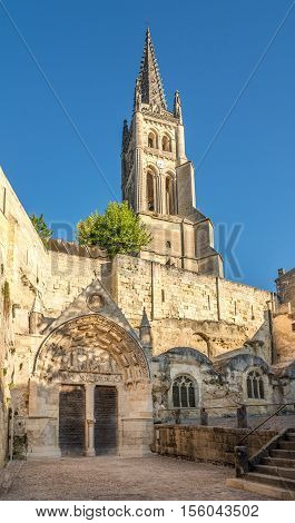 Bell tower with Monolithic church of Saint Emilion in France