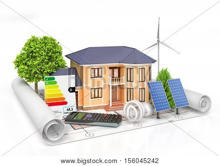 Energy efficient construction. House with calculator solar panel wind power plant and economical lamp on a blueprint. 3d illustration