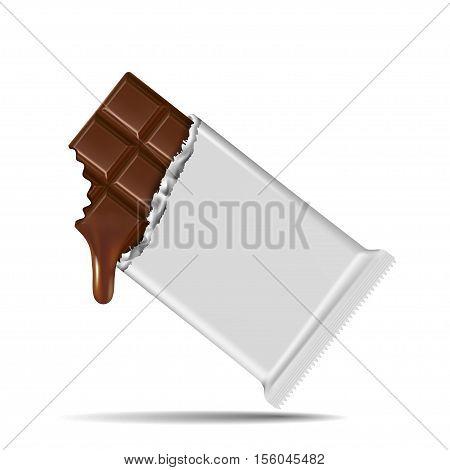 Chocolate bar isolated on white background .