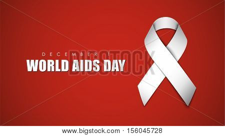 Background With White Ribbon For World Aids Day