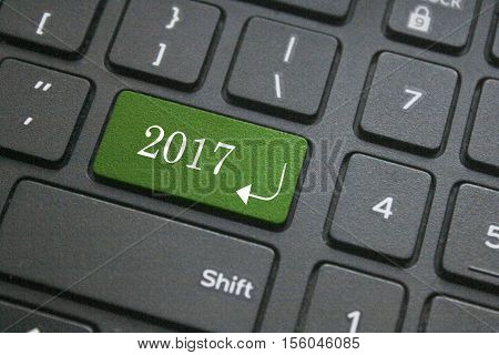 close up of Happy New year 2017 button on computer keyboard