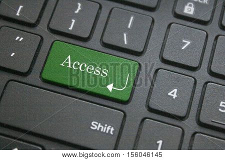 Close-up of access word on computer keyboard