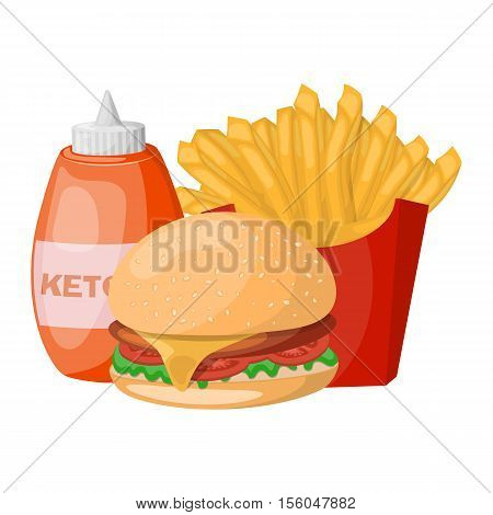 Set of colorful cartoon fast food icons. Eps 10