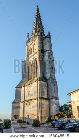 SAINT EMILION,FRANCE - SEPTEMBER 1,2016 - Bell tower of Saint Emilion. Saint Emilion is a commune in the Gironde department in southwestern France.